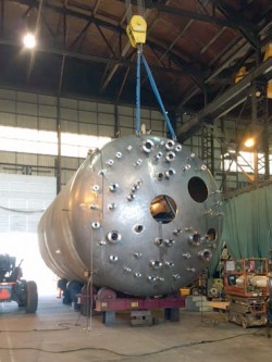 The 16-foot-diameter test vessel is being fabricated by Greenberry Industrial in Vancouver, Washington.